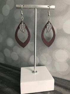 Excited to share the latest addition to my shop: Faux Leather Earrings- Leather Earrings- Leather Jewelry- Earrings- Gift Diy Leather Earrings, Brown Earrings, Leaf Earrings, Beaded Earrings, Earrings Handmade, Handmade Jewelry, Leather Jewelry Making, Silver Earrings, Diamond Earrings