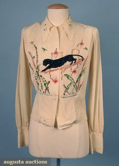 Hand-decorated Panther Blouse, 1940s, Augusta Auctions, April 2006 Vintage Clothing & Textile Auction, Lot 403