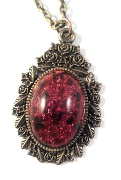 Vintage 1960's Deep Ruby Red Opal Glass in Antiqued by JujusCrafts, $28.00