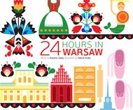 What would you do if you had 24 hours in Warsaw? Qatar Inflight Magazine Oryx gives you some useful suggestions how to explore the city, and how to get the best experience out of your time in the Polish capital. Patrick Hruby created the lovely illustration which features some of the cities iconic landmarks such as Warsaw's historic old town and Polish paper cutting art wycinanka.