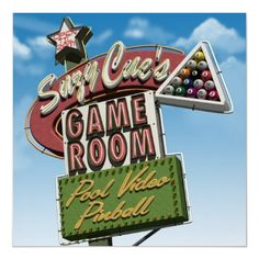 size: Stretched Canvas Print: Suzy Cue's Game Room Canvas Art by Anthony Ross : Using advanced technology, we print the image directly onto canvas, stretch it onto support bars, and finish it with hand-painted edges and a protective coating. Suzy, Vintage Neon Signs, Vintage Ads, Old Signs, Old Neon Signs, Art Festival, Beach Art, Stretched Canvas Prints, Game Room