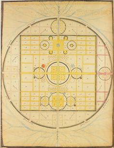 """spiritual map, the holy city, 1843, polly jane reed...from heavenly visions: shaker gift drawings and gift songs in 1795, when shirley, massachusettes, was a community of 200 shakers living on three thousand acres, an outside observer recorded, """"the walls are excellent & high & upon an horizontal line, & as straight as they can be laid.  inspired by visionary experiences, the gift drawings bridge the heavenly and the earthly spheres....imaging heaven as a perfectly balanced array of circles."""