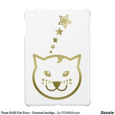 Faux Gold Cat Face with stars as mustaches / iPad Mini Cover! You may add the background color of your choice or leave it as it is #fomadesign