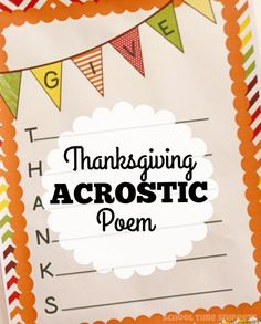 Teach thankfulness and poetry with your kids this Thanksgiving with this printable Give Thanks Acrostic Poem Thanksgiving Writing, Thanksgiving Activities, Thanksgiving Crafts, Thankful Poems, Gratitude Poems, Christian Poems, Christian Crafts, Acrostic Poem For Kids, Fall Crafts For Kids