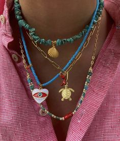 Summer Jewelry, Trendy Jewelry, Cute Jewelry, Beaded Jewelry, Jewelry Accessories, Collar Hippie, Accesorios Casual, Ring Necklace, Jewelery