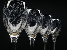 Four Wine Glasses & & Leaves& Hand Engraved Wedding Gift Bridal Party Crystal Glass Spring Stemware Engraved Wedding Gifts, Unique Wedding Gifts, Bridal Gifts, Personalised Gin, Personalised Glasses, Red Wine Glasses, Crystal Wine Glasses, Glass Candle Holders, Hand Engraving