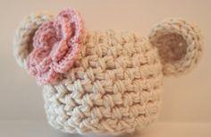 Crochet Baby Girl Bear Beanie