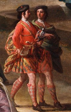 Two soldiers in their above the knee highland regiment kilts, and kit. Detail from St James's Park and the Mall c.1745 Royal Collection Trust.