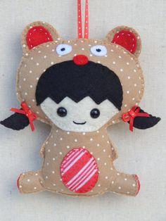 Christmas Teddy  Baby Girl Felt Ornament by MsBittyKnacks on Etsy, $7.00