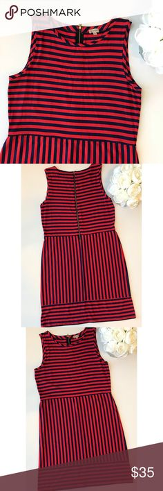 Cremieux Blue And Red Striped Sleeveless Dress G Daniel Cremieux Dresses
