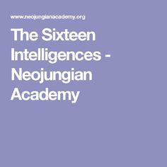 The Sixteen Intelligences - Neojungian Academy