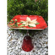 Christmas whimsy, upcycled bird feeder, vintage ceramic bird bath,... ($26) ❤ liked on Polyvore featuring home, outdoors, outdoor decor, bscozycottagecrafts, garden bird feeders, garden bird bath, ceramic bird bath, garden decor and ceramic birdbath