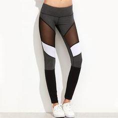 0d4fc5f3fbb2f SHEIN Casual Leggings Women Fitness Leggings Color Block Autumn Winter  Workout Pants New Arrival Mesh Insert Leggings