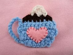 Cute Little Crafts: Free Crochet Pattern: Coffee Cup Applique