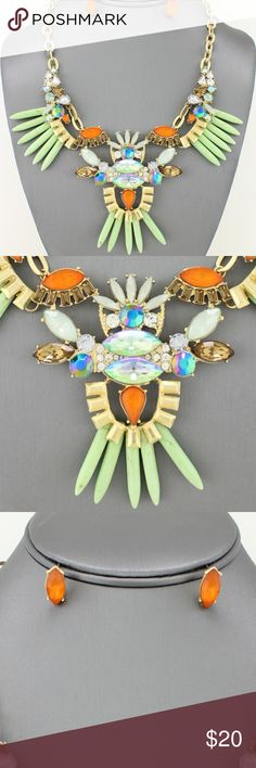 """Statement Tribal Spike Necklace Set Just in time for spring! Tribal inspired statement necklace set. Necklace measures 16"""" long with a 3"""" extender. #L4S7206MNTG Jewelry Necklaces"""