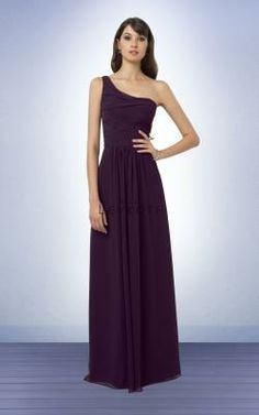 04078468a6f3 Bill Levkoff Bridesmaid Dress Style 771 Chiffon one shoulder gown with  asymmetrical ruched bodice. Soft gathers give skirt fullness and swing.