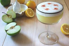 Pisco Apple Sour     2 oz pisco     1/2 oz lemon juice     1 oz green (Granny Smith) apple juice     1/2 oz grade B maple syrup     1 egg white     Angostura bitters for garnish     cinnamon stick for garnish