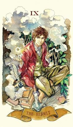 Bilbo Baggins in what appear to be Tarot cards. Hobbit Art, O Hobbit, Thranduil, Legolas, Halloween Entertaining, Concerning Hobbits, Bilbo Baggins, Jrr Tolkien, Tarot Decks