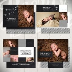 Christmas Card Templates: Chalk & Lights - Set of Four 5x7 Holiday Card Templates for Photographers