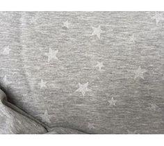 Bomuldsjersey - gråmeleret med små sølv stjerner
