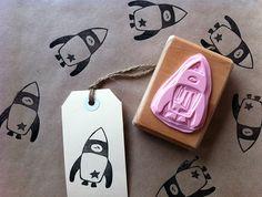 Hand Carved Rubber Stamp - Rocket