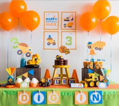 38 Ideas for party decorations kids boys construction theme Party Themes For Boys, Kids Party Decorations, Party Ideas, Theme Ideas, Baby Boy Birthday, 2nd Birthday Parties, Princess Birthday, Transportation Birthday, Construction Theme Party