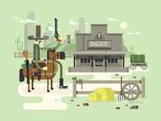 Wild+west+saloon.+Cowboy+and+western,+old+building+town,+sheriff+flat+vector+illustration+Vector+files,+fully+editable.