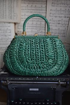 Vintage Woven Italian Handbag / Turquoise Color with Gold Hardware