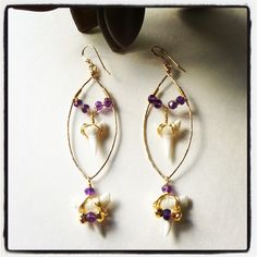 14kt gold hammered earrings with gold pyrite, amethyst and shark teeth.