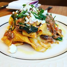 House-made pappardelle (with lamb neck ragu, broccoli rabe, Taggiasca olives and grated Pecorino Stagionato. Ragu Recipe, House Made, Olives, Broccoli, Risotto, Lamb, Restaurant, Ethnic Recipes, Food