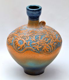 """M.Wein Carved  Vase 13"""""""