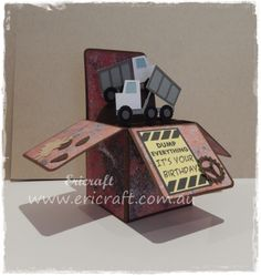 Truck card in a box. Order your custom hand made card at www.ericraft.com.au