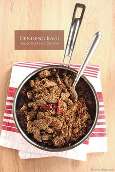 Indonesian dendeng ragi (spiced beef and coconut) is a type of beef jerky. It's a popular side to complete many Indonesian rice dish sets, along with telur balado (spicy eggs) and kering tempeh (spicy tempeh). #indonesianfood #indonesianrecipe #dendeng #beefjerky #coconut #serunding