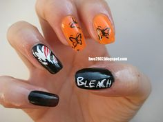 Bleach anime nails--- they need to be purple instead of orange