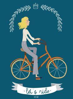 retro bicycle illustrations | Let's Ride - Vintage Bike - Illustration