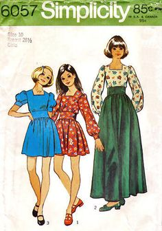 A Long or Short Sleeve, Ankle or Above-Knee Length Dress Pattern with Wide Midriff Detail for Girls, Vintage 1973 Childrens Sewing Patterns, Vintage Sewing Patterns, Girls Long Shorts, Vintage Outfits, Vintage Clothing, American Girl Doll Julie, Short Long Dresses, Lovely Dresses, Girls Dresses