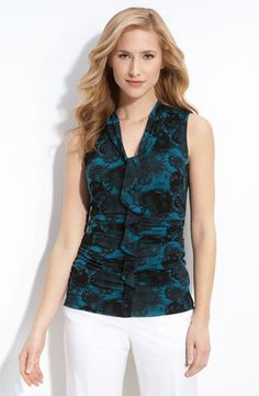 Classiques Entier Atelier Teal Ruffle Front Knit Top Muted Florals print
