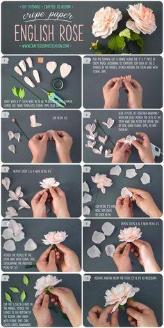 DIY Crepe Paper English Rose DIY-Krepp-Papier-Englisch-Rose-Tutorial-von-Crafted-to-Bloom-DIY-Papierblumen-Craftedtobloom Tissue Paper Flowers, Felt Flowers, Diy Flowers, Fabric Flowers, Crepe Paper Roses, Flower Paper, Flower Diy, Paper Peonies, Flower Wall