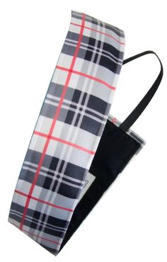"""Sweaty Band Fitness Headband - Plaid About You - Black/White/Red - 1.5"""" Wide"""