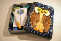 Cigarette Case or Wallet OOAKArchimedes the Owl by HipEarthDesigns