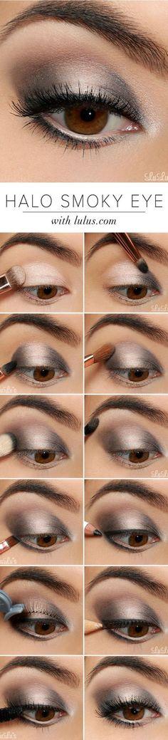 16 Easy Step-by-Step Eyeshadow Tutorials for Beginners: #6. Easy Makeup Tutorials for Beginners – Silver Shimmer Smokey Eye
