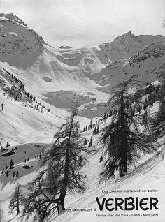 advertising 1962 Les cerises murissent en plaine, on skie encore à Verbier…