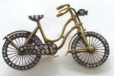 Bicycle Pin Brooch 14Kt Gold with Rose Diamonds Movable Wheels