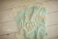 So divine, the Caitlin set features an upcycled aqua embroidered top, vintage cream lace, linen mint pants