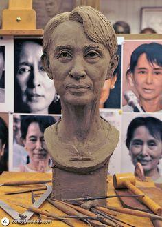 Zenos Frudakis  Aung San Suu Kyi Portrait sculpture  Work in progress at Frudakis Studio