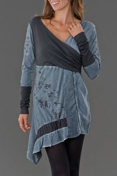 wrap-top tunic. top is shirred to allow ease in the chest region without gapping.