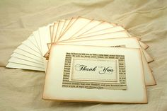 Wedding - Thank You Cards, Vintage Book Page, Set of 12, Pride and Prejudice, Anne of Green Gables. $28.00, via Etsy.