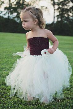 Burgundy and White Tutu Dress