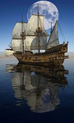Ship sailing under the big moon - Android Wallpapers, HTC T-Mobile G2, G1 Wallpapers free download