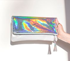 Clutches – Holographic Clutch, Iridescent Wedding Clutch – a unique product by gmaloudesigns on DaWanda